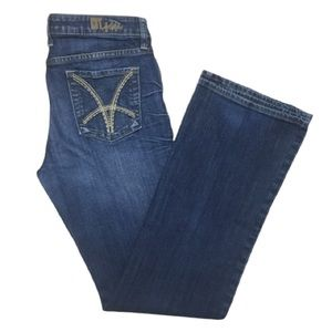 Kut From The Kloth Dark Wash Faded Bootcut Jeans